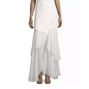 Haute Hippie White Silk Ruffle Maxi Skirt Size S